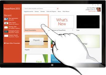 PowerPoint on touch devices