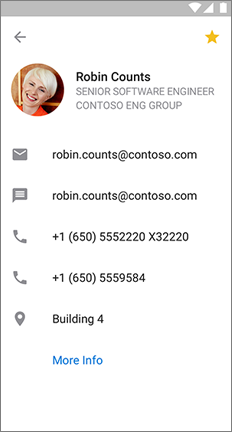 Profile card with a yellow star to indicate this contact is a favorite