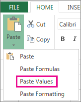 Paste command showing Paste Values
