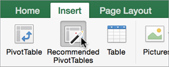 Recommended PivotTables button