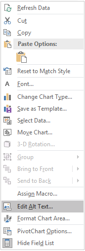 Excel Win32 Edit Alt Text menu for PivotCharts