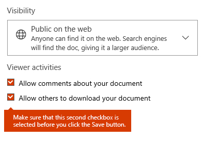 Dowcument download option in Docs.com
