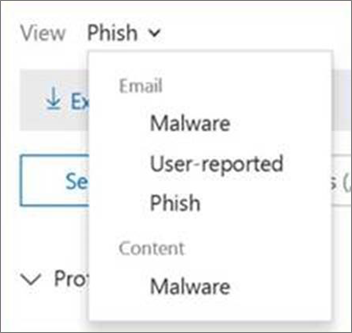 Use the View menu to choose between Email and Content reports