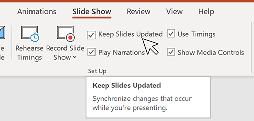 Image of the Slide Show tab in PowerPoint.
