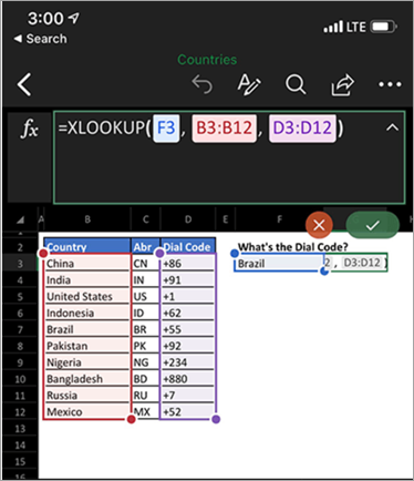 Shows XLookup function