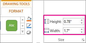 Height and Width boxes on the Drawing Tools Format tab
