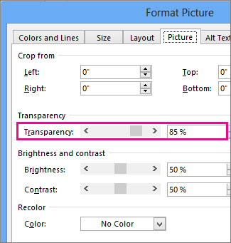 Screenshot of the Format Picture Dialog Box in Publisher.
