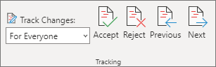 Tracking pane with Accept, Reject, Previous, and Next commands.