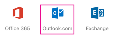 Shows the Outlook.com icon