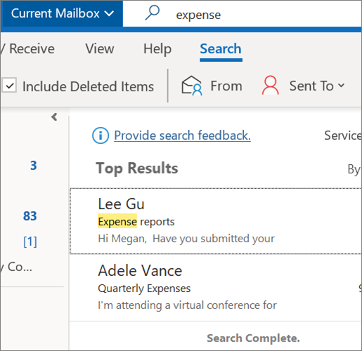 Using Search to find your email in Outlook