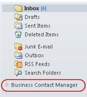 business contact manager folder in the navigation pane under the inbox folders
