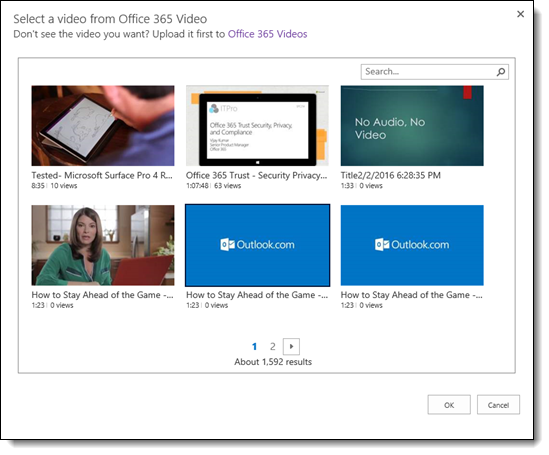 Office 365 Video Select a Video to Embed