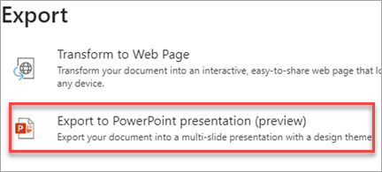 Export to PowerPoint presentation