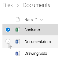 Screenshot of selecting a file in OneDrive in list view