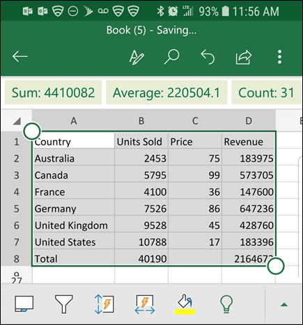 Excel has converted your data, and returns it to the grid.