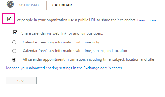 On the Dashboard, configure the Calendar options as appropriate for your situation.
