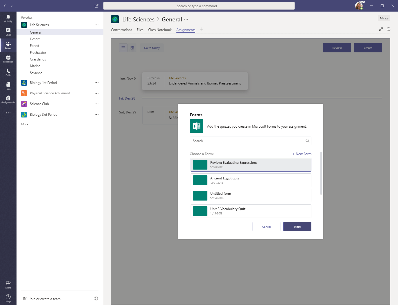 Choose a form to add to new quiz in Microsoft Teams