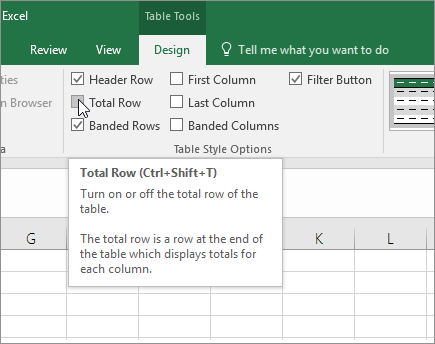 Total Row option in Design tab