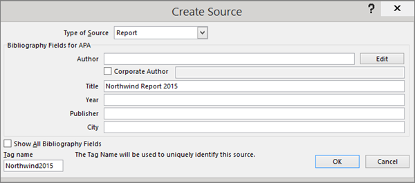 Apa mla chicago automatically format bibliographies word the option in the creaet source dialog box are shown ccuart
