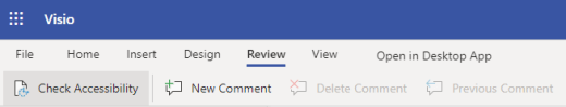The Accessibility Checker button on the top ribbon in the Visio for the web
