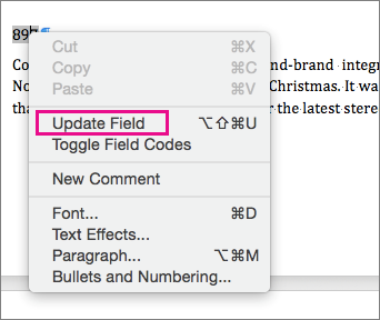 The Update Field option is highlighted on the menu.