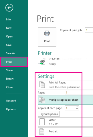 Click File, Print, to view settings for printing in Publisher 2013