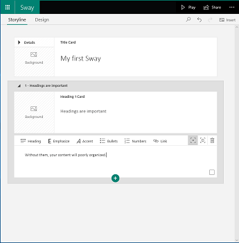 Sway storyline view