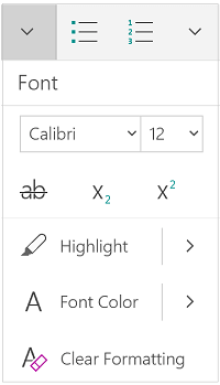 Font menu in portrait mode