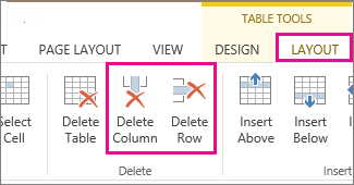 Image of Delete Table and Delete Row commands in Table Tools Layout ribbon