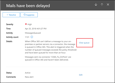 The queue alert Details flyout in the Office 365 Security & Compliance Center