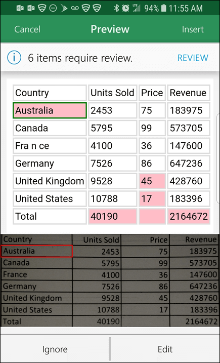 Excel import data from picture gives you the ability to correct any issues it found when converting your data.