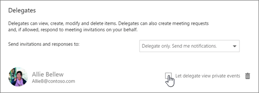A screenshot of the Let delegate view private events check box.