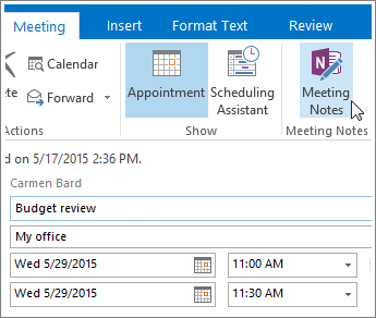 Screenshot of the OneNote Meeting Notes button in Outlook.