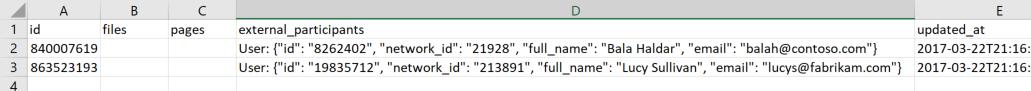 Screenshot of an example data export file