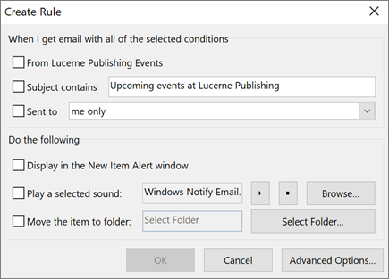 Creating a rule in Outlook