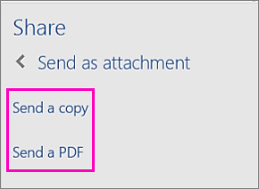 Image of the two options in the Share Pane for emailing a document as a copy or as a PDF