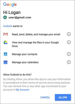 Click Allow to give Outlook access to your Gmail messages, files, contacts, and calendars