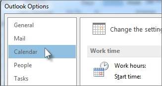 In Outlook Options, click Calendar.
