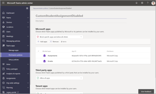 Permission policies in the Microsoft Teams admin center