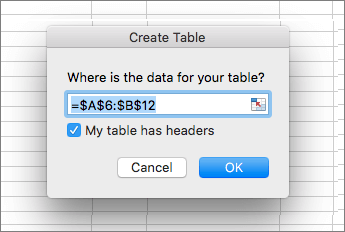 Screenshot of the Create Table dialog, with the My table has headers check box selected