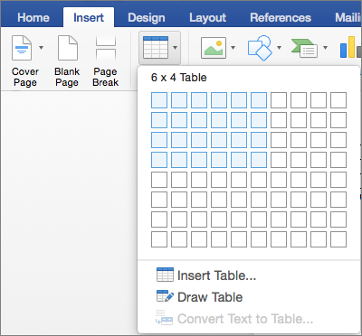 Select the number or rows and columns to quickly insert a table