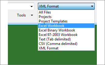 Select which Excel workbook to open for data