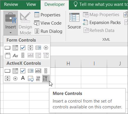 Add or register an ActiveX control - Excel