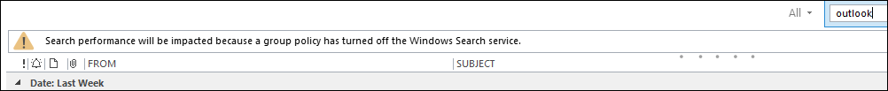 Outlook Search Warning
