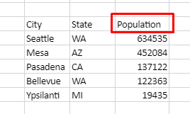 Table has 3 columns: City, State, Population. Sort Descending by population.