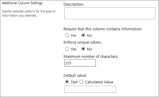 Choices for single line of text column