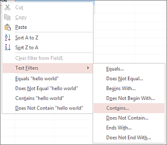 Context menu showing text filtering options
