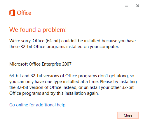 Can't mix 32-bit and 64-bit versions of Office