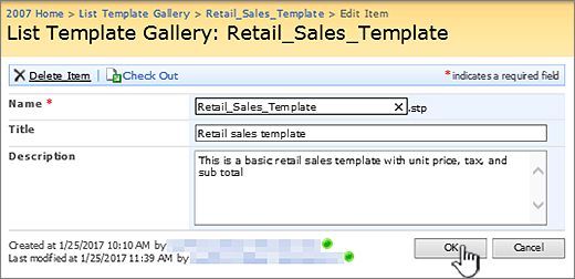 List template editing dialog