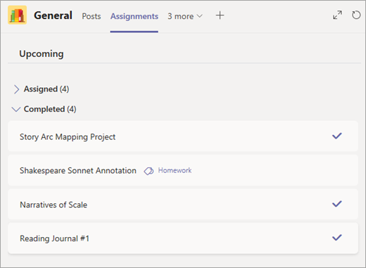 Completed assignments under dropdown arrow.